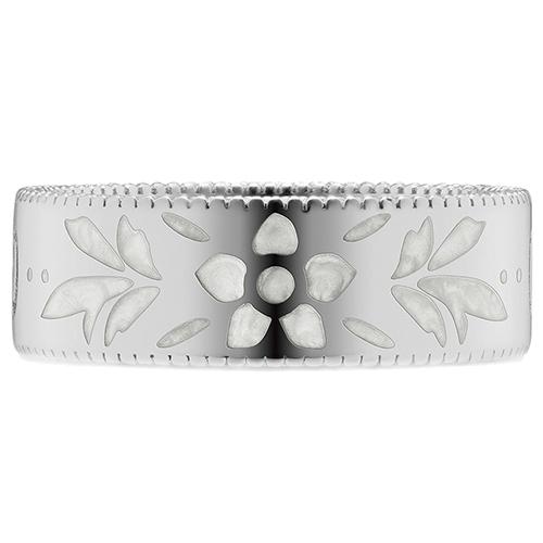 Широкое кольцо Gucci Icon из белого золота с тиснением и узором из эмали, фото