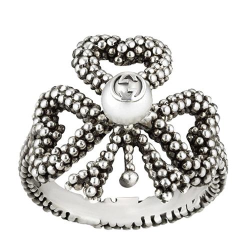 Серебряное кольцо Gucci Steel Cut с искусственной жемчужиной, фото