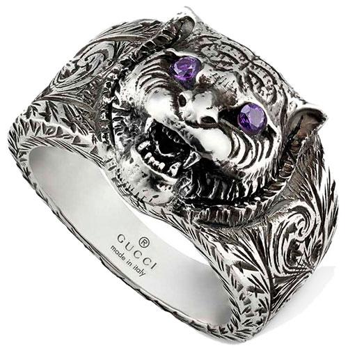 Серебряное кольцо Gucci Garden с фиолетовыми фианитами, фото