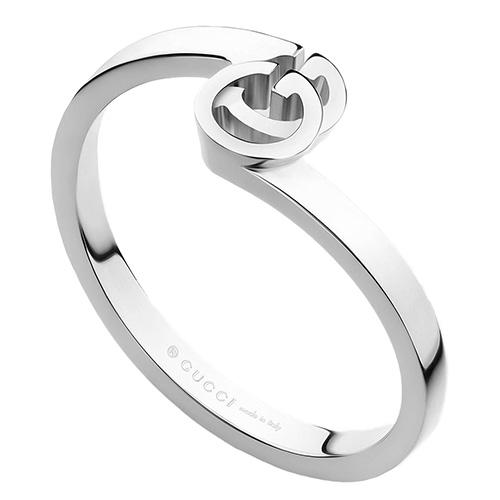 Кольцо из белого золота Gucci Running G с логотипом, фото