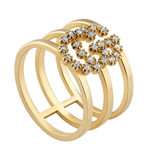 Трехрядное кольцо из желтого золота Gucci Running G с логотипом в бриллиантах, фото