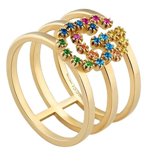 Трехрядное кольцо из желтого золота Gucci Running G с логотипом в драгоценных камнях, фото