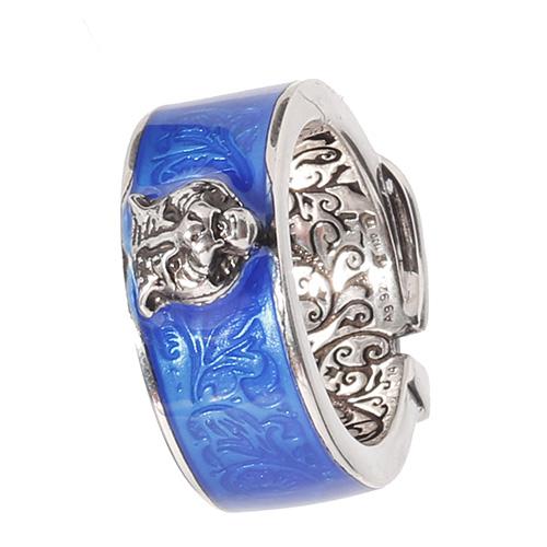 Серебряное кольцо Gucci Garden с кошачьей головой и синей эмалевой пряжкой, фото