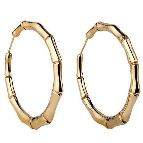 Круглые серьги-конго Gucci Bamboo из желтого золота с имитацией бамбукового дерева, фото