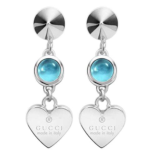 Серьги-подвески Gucci Trademark на застежках-гвоздиках с круглыми голубыми топазами, фото