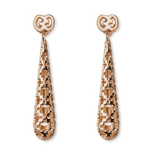 Серьги-подвески Gucci Diamantissima из розового золота с крестообразной перфорацией, фото