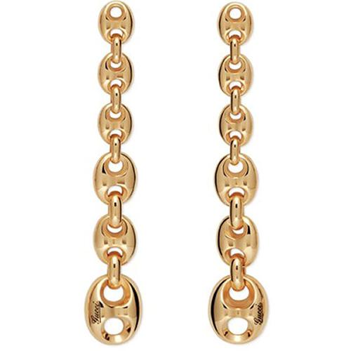 Длинные серьги-гвоздики Gucci Marina Chain в форме цепи из крупных звеньев, фото