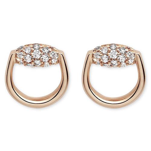 Серьги-гвоздики Gucci Horsebit округлой формы из розового золота с бриллиантами, фото