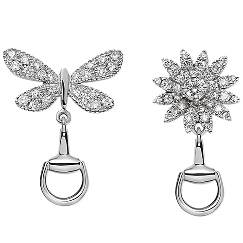 Серьги-гвоздики Gucci Flora из белого золота с бриллиантами в форме бабочки и цветка, фото