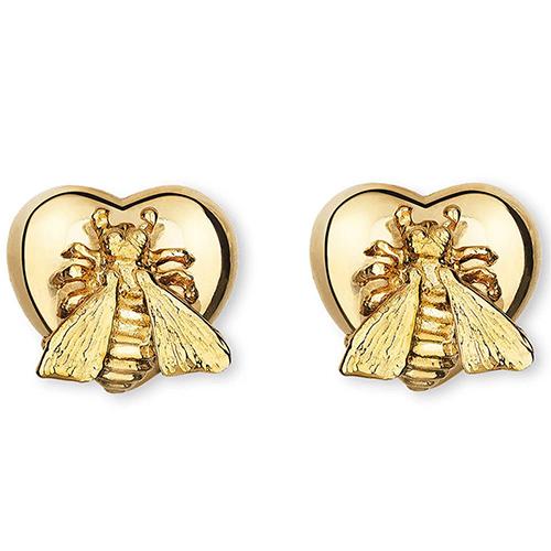 Золотые серьги-гвоздики Gucci Le Marche des Merveilles в форме сердца с пчелами, фото