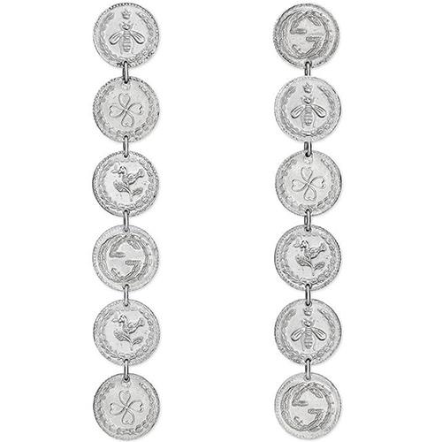Длинные серьги-подвески Gucci Coin из серебряных монет с фирменным тиснением, фото