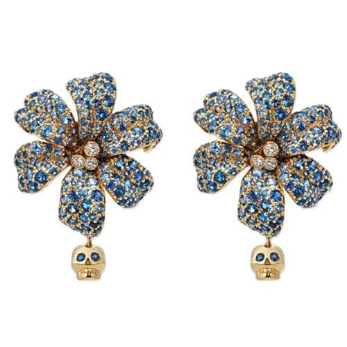 Золотые серьги Gucci Flora в форме цветов с черепами с сапфирами и бриллиантами, фото