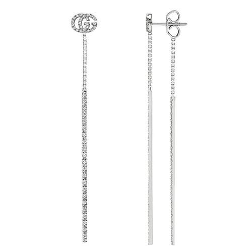 Длинные подвесные серьги Gucci Running G из белого золота с бриллиантами, фото