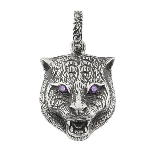Серебряный кулон Gucci Charms в виде кошачьей головы с глазами-цирконами, фото