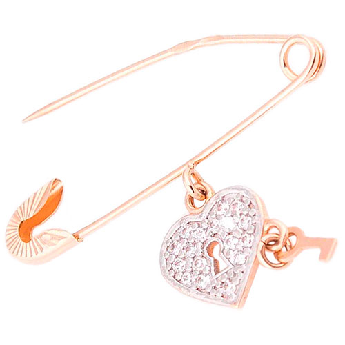 Золотая булавка Сердце и ключик, фото