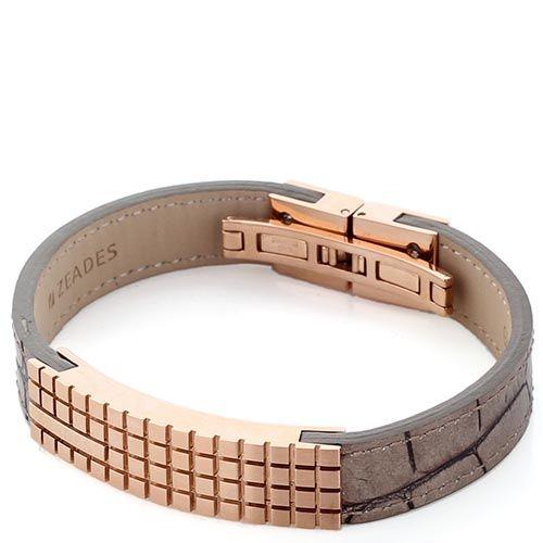 Широкий браслет из тисненой под рептилию кожи ZEADES со стальной деталью, фото