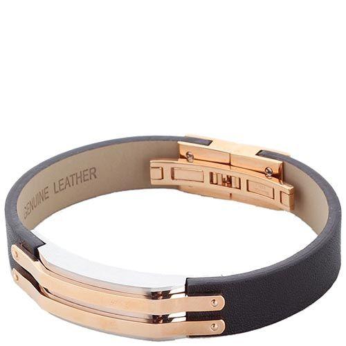 Широкий кожаный браслет ZEADES со стальной вставкой, фото