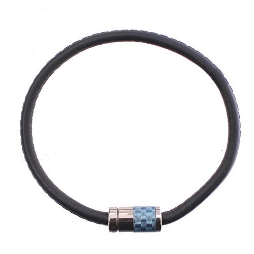 Мужской браслет Zeades из карбона и кожи с магнитным замком, фото