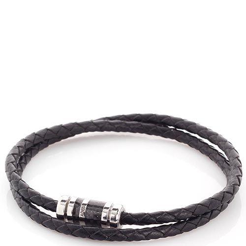 Двойной браслет Zeades из кожи и карбона со стальной застежкой, фото