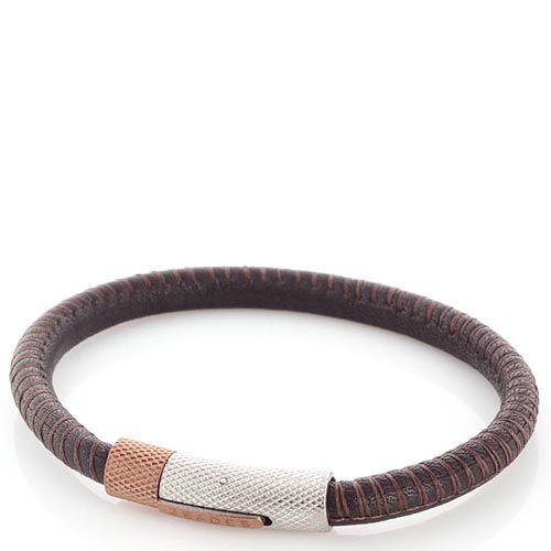 Браслет Zeades в виде джгута коричневого цвета с фактурной стальной застежкой, фото