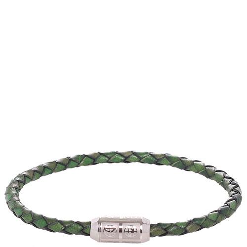 Браслет Zeades из зеленой плетеной кожи, фото