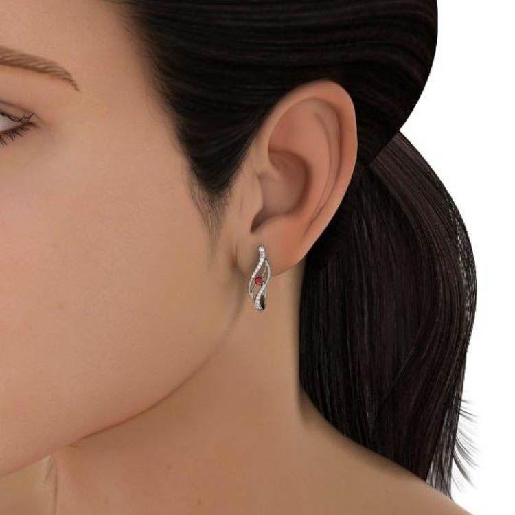 Серьги Kiev Jewelry Thiana с бриллиантами и рубином 000680-1046274