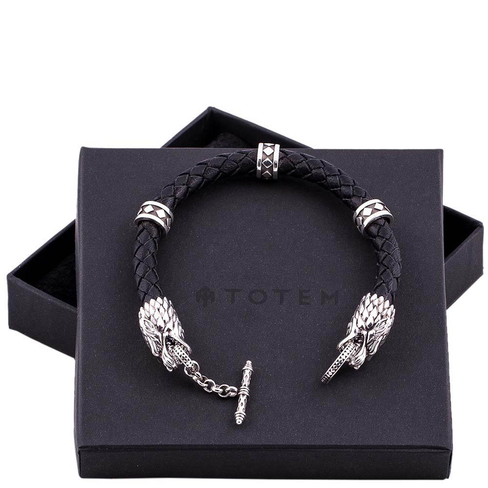 Кожаный браслет TOTEM Adventure Jewelry Wolf с серебряными волками