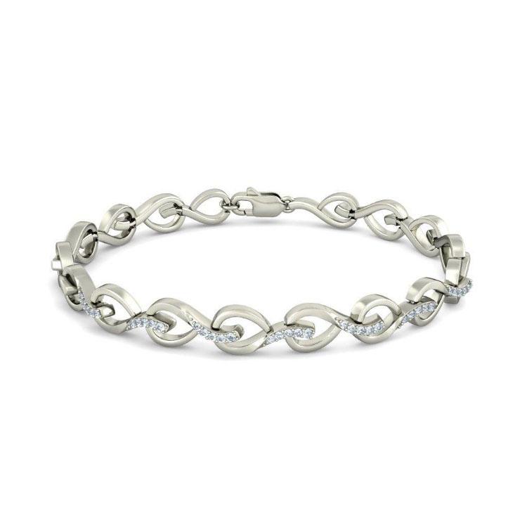Золотой браслет Kiev Jewelry Leaf Lace с фианитами 003389-1249572-f