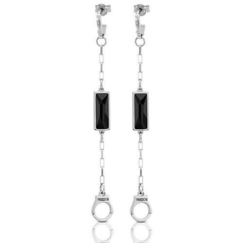 Серьги-пусеты Nomination Freedom наручники с черными кристаллами Swarovski длинные