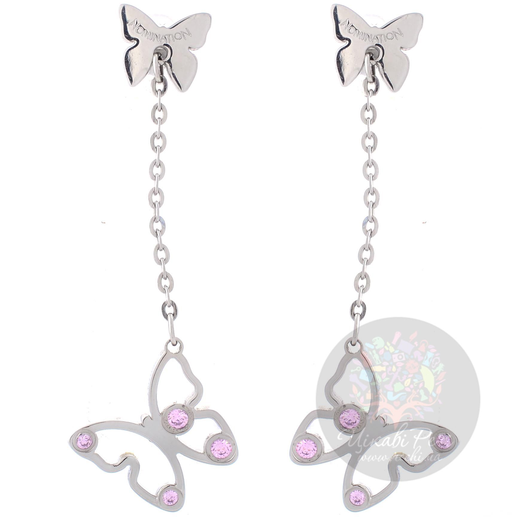 Длинные серьги-пусеты Nomination Butterfly с розовыми цирконами Swarovski