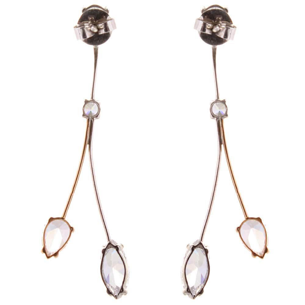 Ажурные серьги-гвоздики Campos с бриллиантами и цирконием