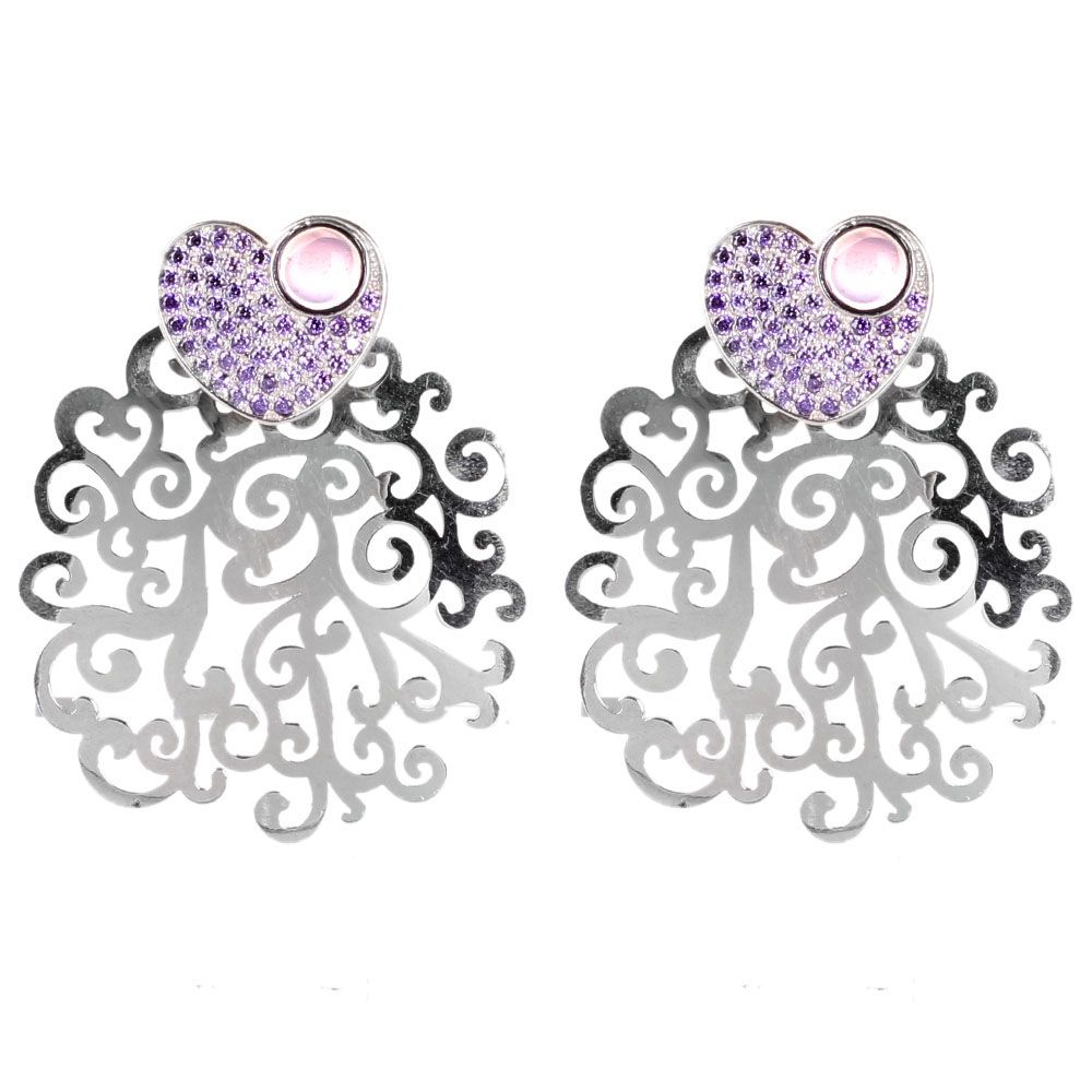 Крупные серьги Bassani из серебра с фиолетовым цирконием
