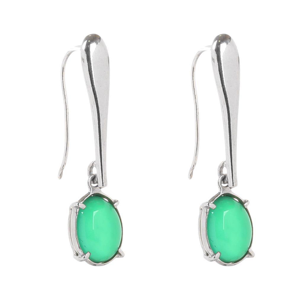 Серебряные серьги с агатами Olga Veisberg зеленого цвета