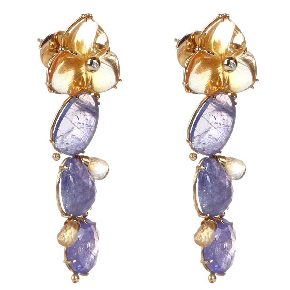 Золотые серьги с бриллиантами Olga Veisberg и цитринами