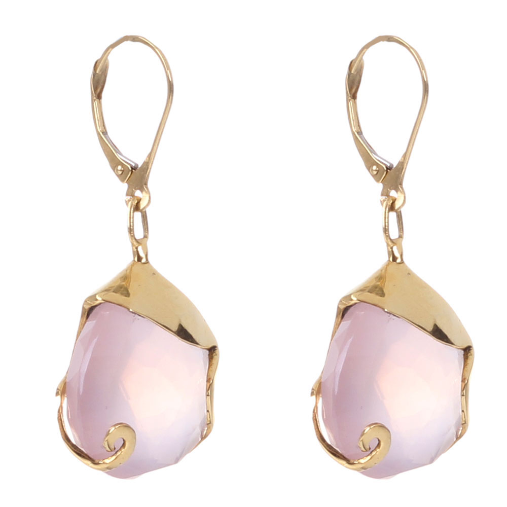 Золотые серьги в форме капелек  Olga Veisberg с розовым кварцем
