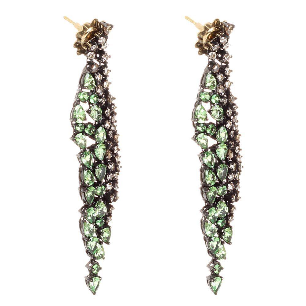 Крупные серьги-подвески Pietre Del Mondo с бриллиантами и цаворитами