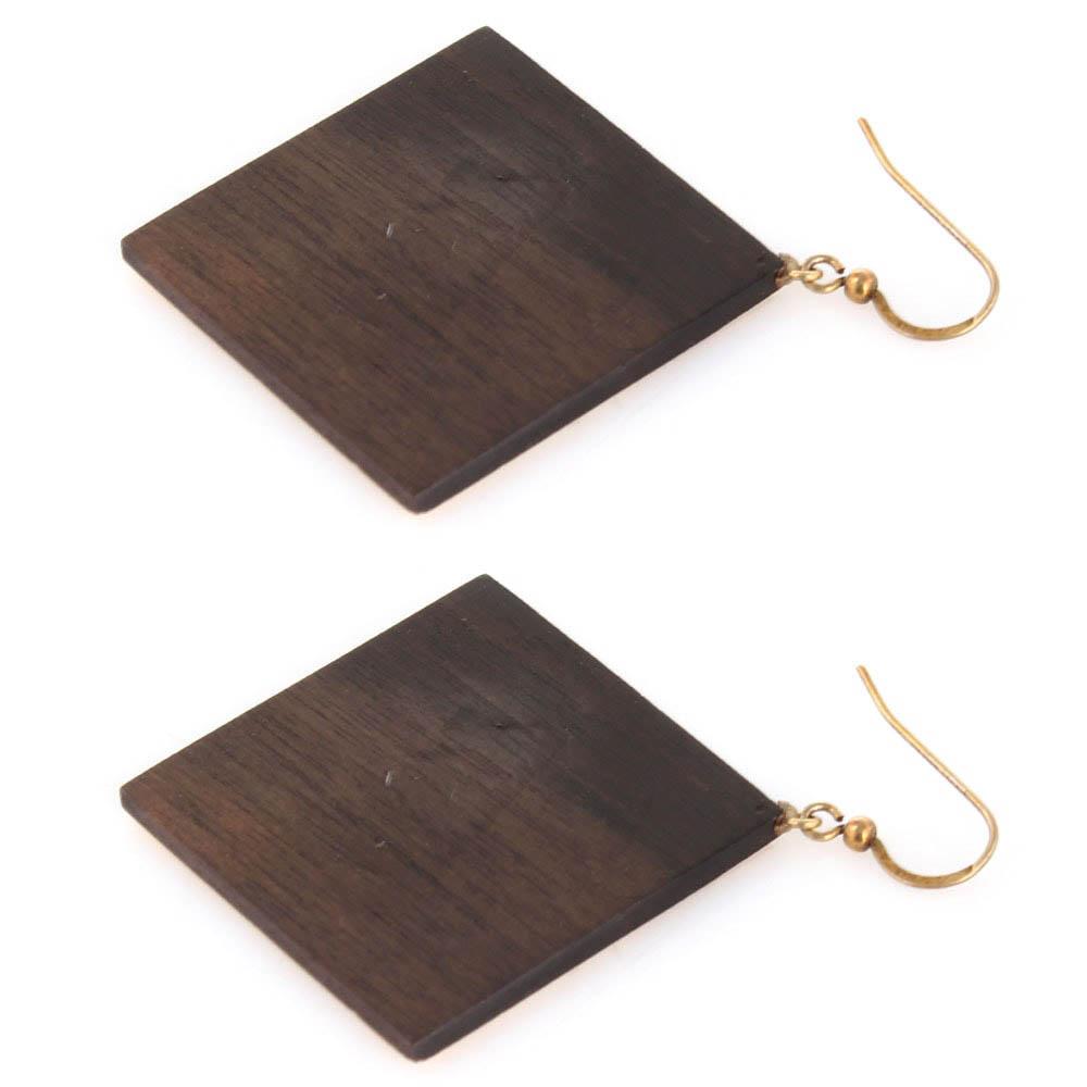 Геометрические деревянные серьги Dogonart с позолотой