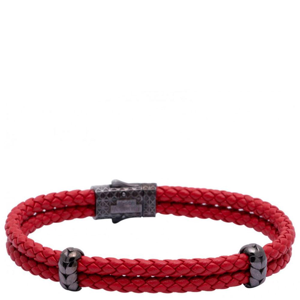 Двойной браслет Atolyestone London из кожи красного цвета
