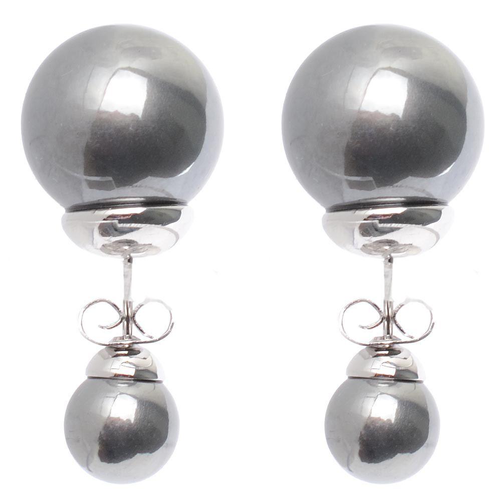 Асимметричные серьги-гвоздики серебристо-графитовые родированные