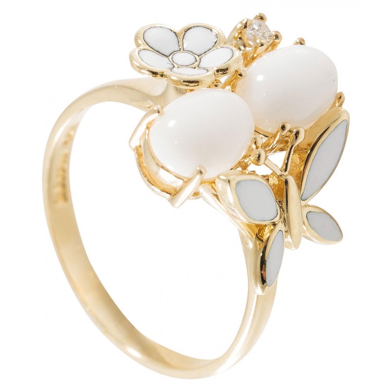 Золотое кольцо Roberto Bravo с бабочкой с эмалью