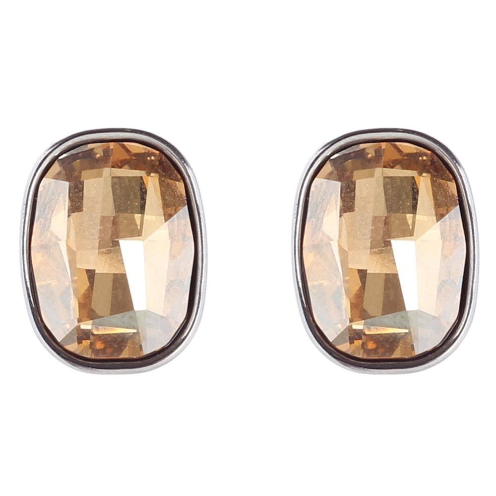 Стальные серьги-пусеты Nomination с коричневым кристаллом Сваровски