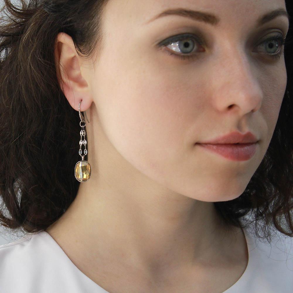 Серьги-цепочки Nomination с подвесками-кристаллами Swarovski желтого цвета