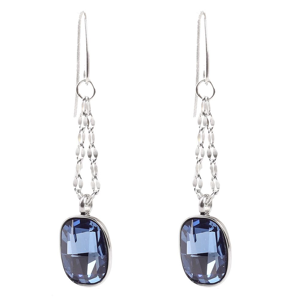 Серьги-цепочки Nomination с подвесками-кристаллами Swarovski синего цвета