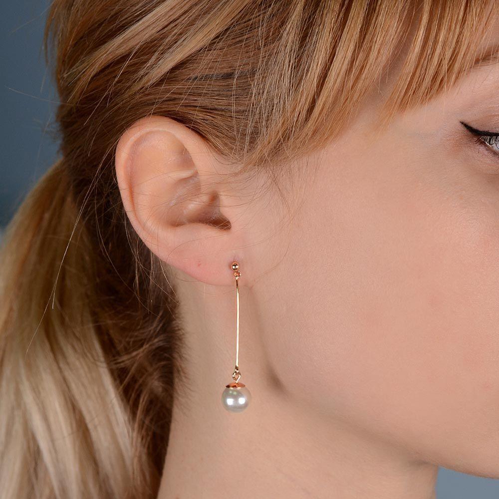 Длинные серьги-пусеты Jewels с перламутровой бусиной позолоченные