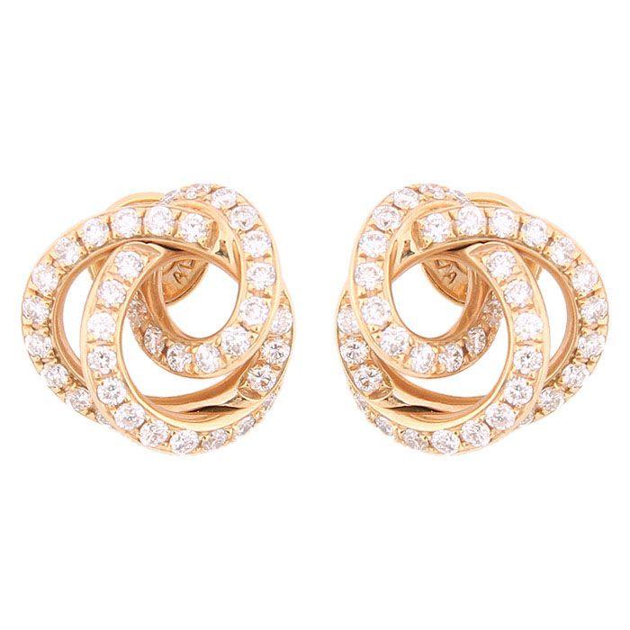 Витые серьги-пусеты de Grisogono из золота с бриллиантами