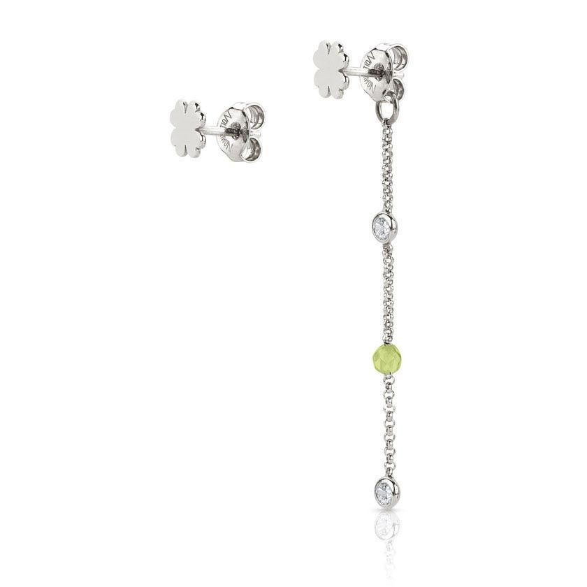 Серебряные серьги Nomination с цирконами и зелеными бусинами жадеита