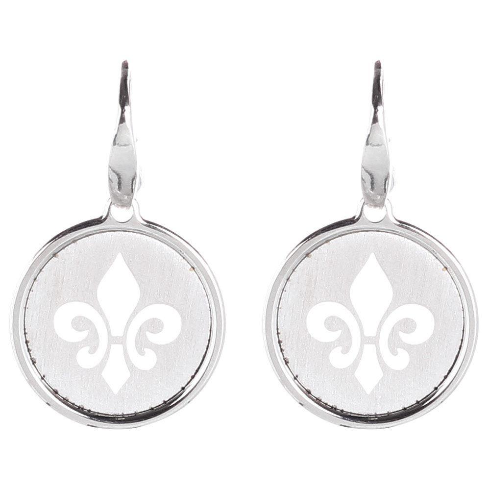 Серебряные серьги с круглой подвеской в виде королевской лилии Nomination