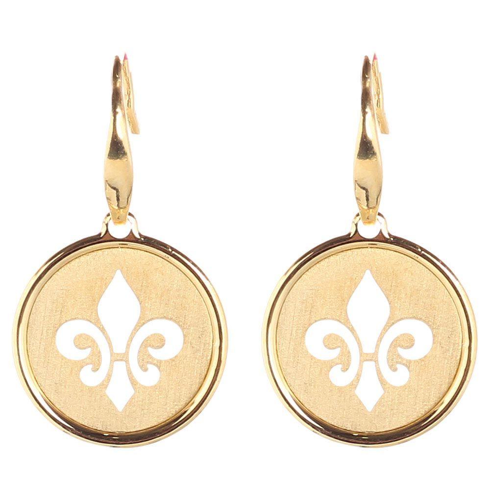 Серьги из позолоченного серебра Nomination с круглой подвеской в виде королевской лилии