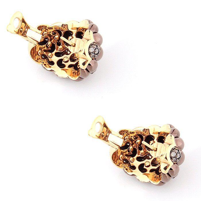 Золотые серьги de Grisogono с PVD-покрытием и коньячными бриллиантами