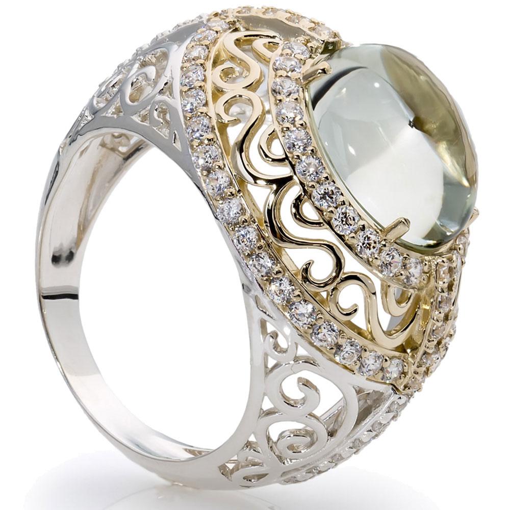 Кольцо SA&GA из серебра и золота с зеленым кварцем
